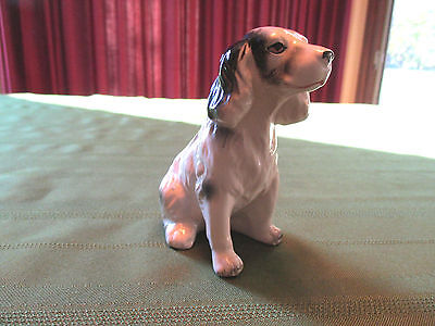 Vintage Springer Spaniel Dog Statue Figurine Porcelain Ceramic Black White