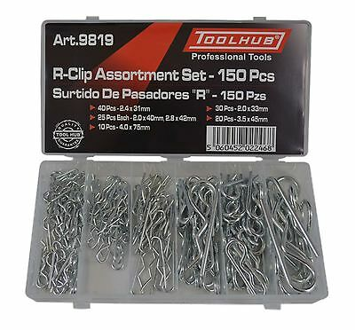 Tool Hub 9819 150pc Hair Pin Hitch R Clip Lynch Cotter Assorted Set+Storage Case