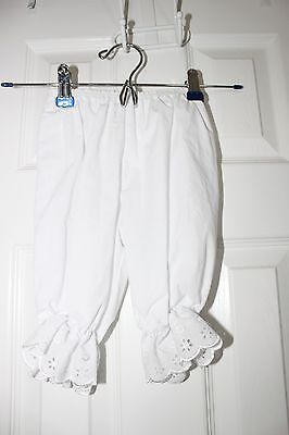 Girls White Short Bloomers Lace 3T