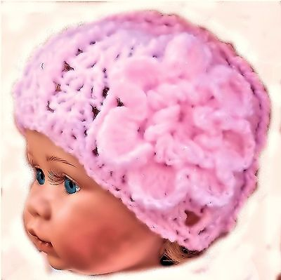 CROCHETED HAT FOR PREEMIE BABY GIRL photoprop small knit early vintage pink mop