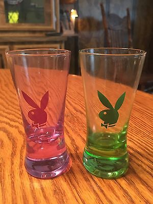 "4"" Playboy Bunny Shot Glasses - Tinted Pink  & Green Set Of 2"