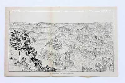 1881 Grand Canyon Arizona Engraving Map Panorama From Point Sublime ORIGINAL