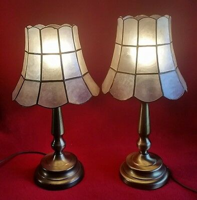 Vintage Capiz Shell Br Table Lamps Shades Pair Boudor Bell Scallop Panel