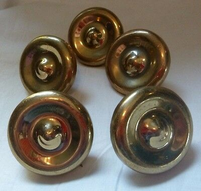 5 Vintage Art Deco Round Brass DRAWER Pull