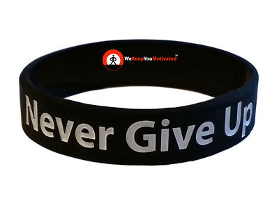 NEVER GIVE UP (Black) Wristband Motivational Inspirational Ionic Negative Ion