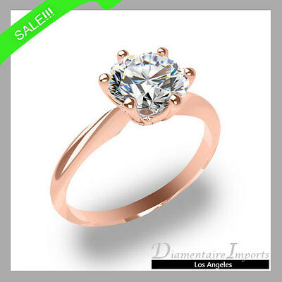 0.80 Ct Round Brilliant Cut 100% Natural Diamond Engagement Ring In Rose Gold