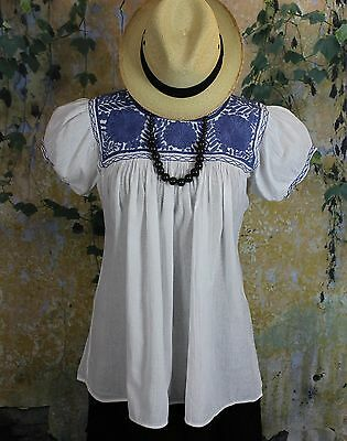 Blue & White Hand Embroidered Blouse Mayan Chiapas Mexico Cowgirl Hippie Boho