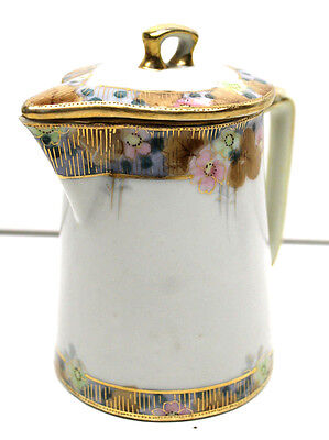 Vintage Nippon Creamer w/ Lid Hand Painted Porcelain Tea Pot Ceramic Gold Floral
