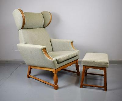 Mid Century Retro Danish Lounge Armchair and Footstool Oak Highlights 1950s 60s