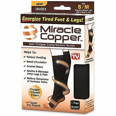 Miracle Copper™ Knee High Compression DVT Varicose Travel Socks Vein Circulation