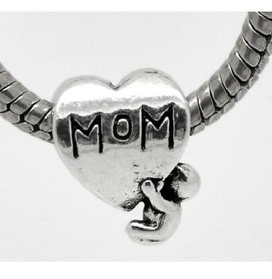 Charms Coeur Maman Mom Famille Amour Bebe Argent 925 Bracelet Europeen Serpent