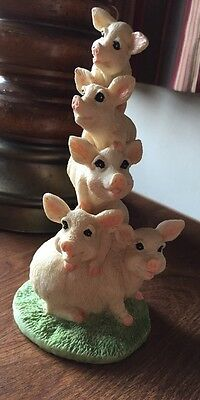 Stacked Pigs Figurine Sow Pig Piglet Hog Figurine Resin Family Of 5 Pigs