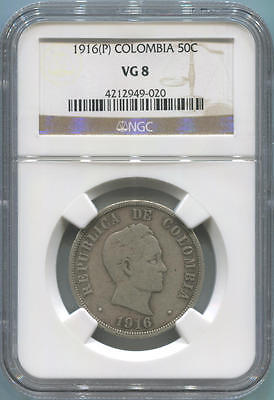 1916 P Colombia Silver 50 Centavos. NGC VG8