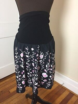 MOTHERHOOD MATERNITY Women's Size Large Floral Cotton Skirt Black Career Q05