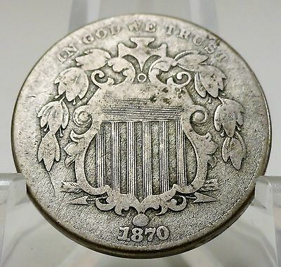 1870 United States shield nickel, #A999