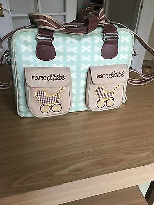Pre-owned Pink Lining Mama Et Bébé Green And Cream Bows Changing bag