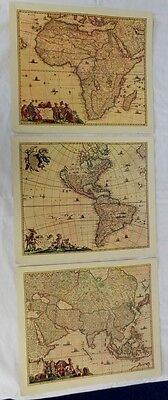 Matted map re-prints x3:  c1600s: America, Africa, Asia - Unframed