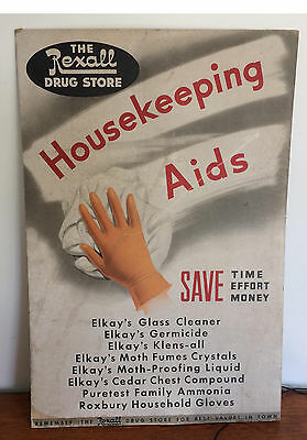Vintage Counter Display  Sign*  REXALL DRUG STORE* ELKAY's  AIDS* 30 X 20*