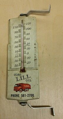 Antique White Metal Coal Oil Thermometer LILL Chicago