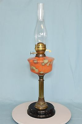 """Vintage paraffin lamp with coloured glass reservoir and glass chimney - 27"""" tall"""