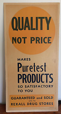 Vintage Display Sign* REXALL DRUG STORE* PHARMACY*PURETEST* 28 X 14