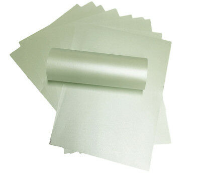 100 X Fresh Mint Green Pearlescent Shimmer Double Sided Paper 120Gsm
