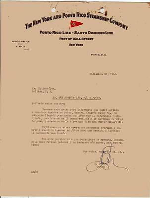 Vtg Illustrated Commercial Letter / Ny & Puerto Rico Steamship Co  / 1940 Rare
