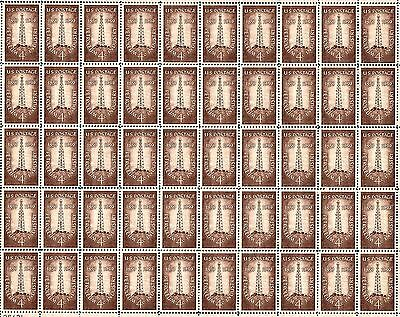 1959 - PETROLEUM INDUSTRY - Vintage Full Mint Sheet of 50 U.S. Postage Stamps