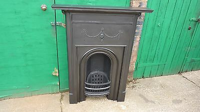 Victorian  Edwardian Cast Iron Insert And Surround Fireplace