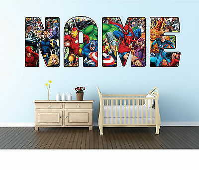 Personalised Avengers/Superhero Name Wall sticker decal for kids Boys room-WBR4
