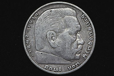 1936-A Germany Third Reich 5 Reichsmark Circulated Silver Coin KM#86 - F 7