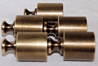 Solid Brass Churn Shape Scale Weights, Vintage Marked 4 Oz, Set of 5