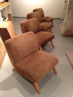"""Mid Century Hollywood Upholstered Chairs c.1950s  Set of 4, Each 28"""" x 30"""" x 25"""""""