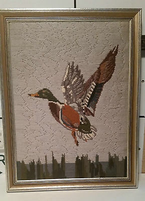 vintage retro FLYING DUCK framed wool stitched WALL HANGING ART TAPESTRY picture