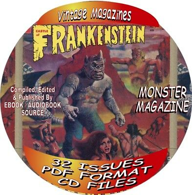 Castle Of Frankenstein Vintage Magazines - 33 Issues - Pdf Files-On Cd-Monster