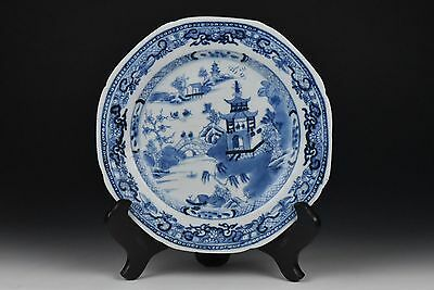 Antique 18th Century Chinese Export Blue & White Scenic Porcelain Plate C