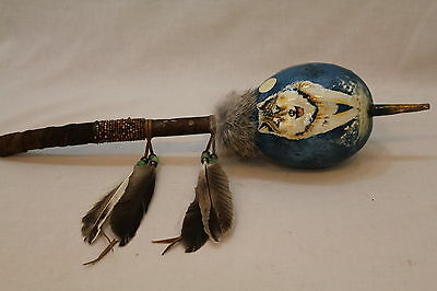 Hand Painted Standing Wolf Indian Dance Style Decorated Gourd Rattle#28169-6