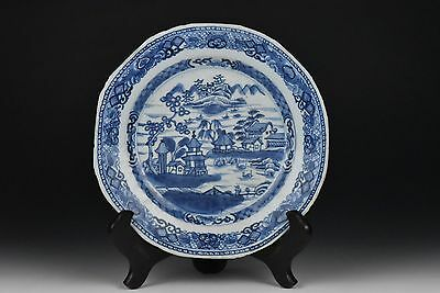 Antique 18th Century Chinese Export Blue & White Scenic Porcelain Plate D