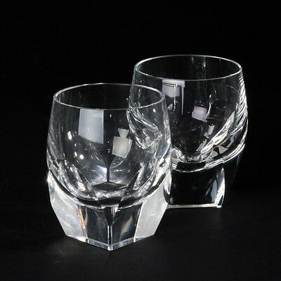 Pair of Vintage Moser Clear Cut Crystal Shot Glasses Bar Ware Art Deco Signed