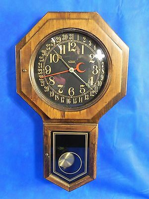 Vintage Verichron Large Wood Pendulum Wall Clock Made in USA