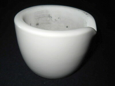 Coors 145mL Glazed Porcelain Mortar, 90mm OD x 70mm H, 60316, With Wear