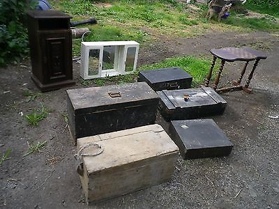 antique pine trunk wooden chest antique furniture old storage pine tool box lot