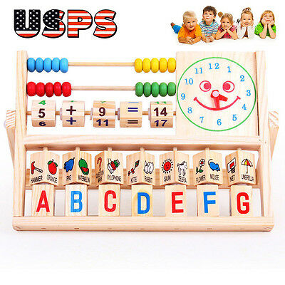 Children Baby Kids Learning Developmental Versatile Flap Abacus Wooden Toys #A