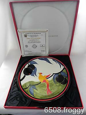 RARE-CLARICE CLIFF-W/Wood LARGE CHARGER *BIRD OR PARADISE* MINT!
