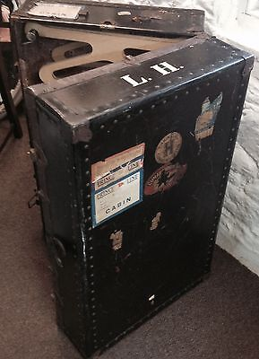 Vintage Travel Trunk/ Portmanteau With Original Cunard White Star Line Labels
