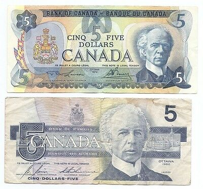 Canada Lot of 2 $5 Five Dollars Notes 1979 & 1986