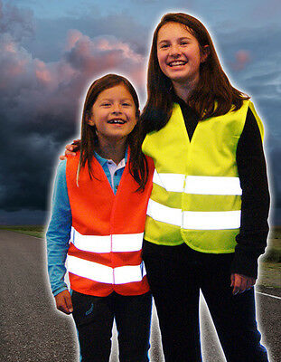 Children's High visibility vest Protection vest Signal vest Neon Yellow Size XS
