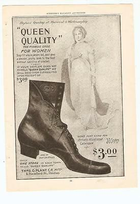 Antique Original 1899 FULL PAGE Print Ad - Queen Quality Womans Shoes - Boston