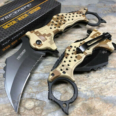 TAC-FORCE Spring Assisted Karambit Style Hunting Outdoor Pocket Knife [Camo]