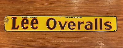 Lee Overalls Vintage Tin Metal Embossed Advertising Sign Original Union Made
